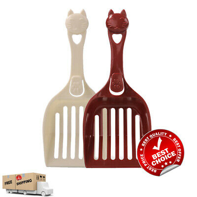 Cat Litter Box Tray Scoop Poop Waste Scooper Cleaning Shovel with Hook 2pcs