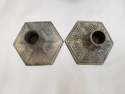 Arts and Crafts style hammered metal candlesticks marked WAL 818