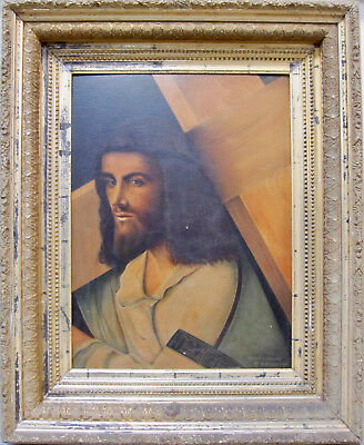 19th Century Old Masters Crucifixion Religious Art Signed Oil BELLINI GIORGIONE