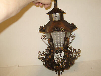 Antique Spanish Heavy Copper  Metal Hanging Light Thick  Clear Glass Perfect!