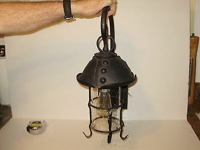 Vintage Arts And Craft  Light W Bubble Glass  Very Large! 22  Inches Tall!. 1579