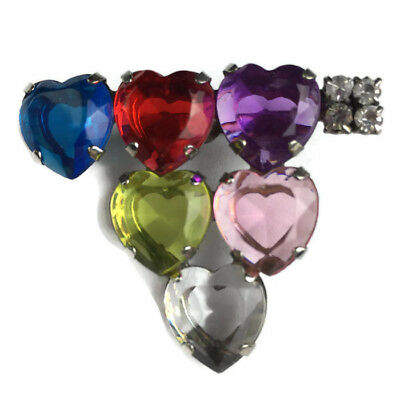 1433d5773 Vtg Rainbow Multi-Color Heart Shaped Brooch Pin Silver Tone Rhinestone  Faceted