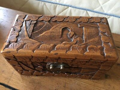 Beautiful Vintage Carved Wooden Oriental Box