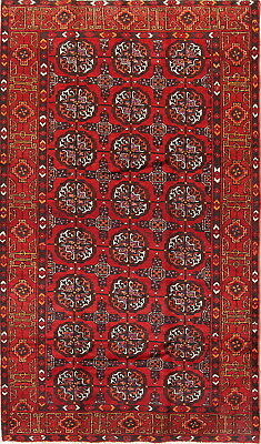 Remarkable Semi Antique Geometric Red Wool Balouch Afghan Oriental Area Rug 5x8