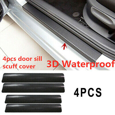 4Pc*Car Door Sill Scuff Welcome Pedal Protect Carbon Fiber Stickers Accessories