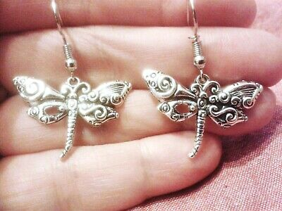 QUIRKY STEAMPUNK DRAGONFLY CHARM EARRINGS BOHO KITSCH RETRO VINTAGE FUN /& FUNKY
