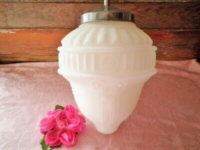 ANTIQUE PENDANT LIGHT SHADE & FITTING LARGE WHITE MILK GLASS VICTORIAN 85cm LONG