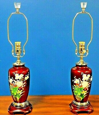 Exquisite Pair Of Japanese Cloisonne Vase Lamps 25 Inches Tall Pigeon Blood Red