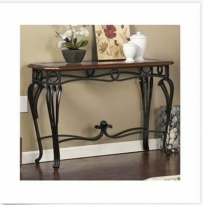 Wood And Metal Console Table Vintage Accent Entryway Living