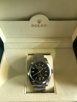 ROLEX MILGAUSS 116400 Black Face Green Crystal Rolex With Box