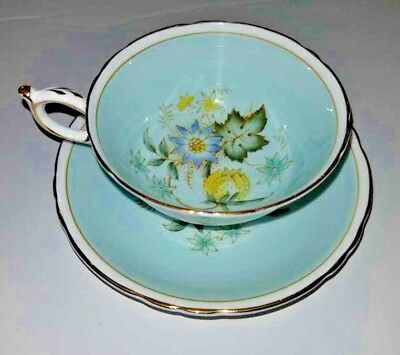 Paragon Appoint Queen Mary Tea Cup Saucer England China Lotus Daisy Pastel Blue