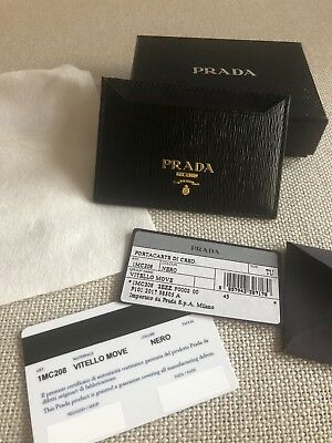 77e6bb60 NEW PRADA LUXURY Current Black Leather Logo Credit Card Holder Case Wallet