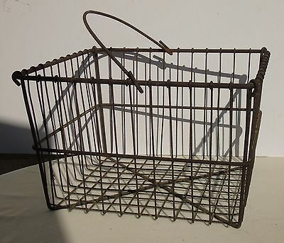 Antique Primitive Large Square Metal Wire Egg Basket w/ Handle Chicken Farm