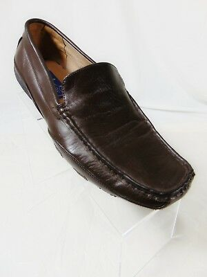 MAJESTIC Collection Driving Loafers Sz 8.5 Chocolate Dark Brown Grain Leather