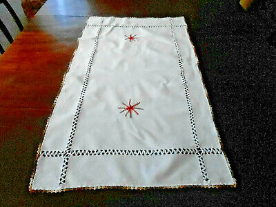 Antique White Linen Runner With Hand Drawn Thread And Embroidery, Circa1930