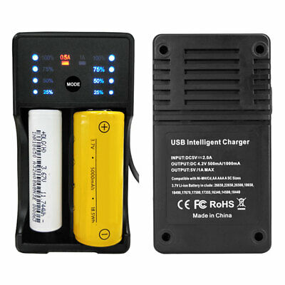 Smart USB Battery Charger Li-ion Rechargeable 2 slots Plug For 18650 17500 A6V2