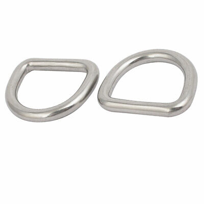 25mmx22mmx5mm 304 Stainless Steel Thickening Welded D Ring Silver Tone 2pcs