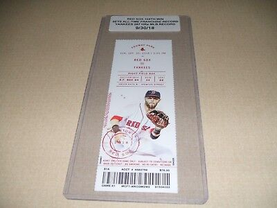 2018 YANKEES SET MLB RECORD 267 HRs/RED SOX WIN 108TH GAME-SET RECORD TICKET