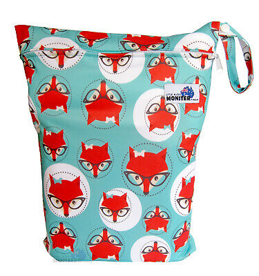 Green Fox Large Zip Dry/Wet Bag - Cloth Nappies Waterproof Reusable Economical