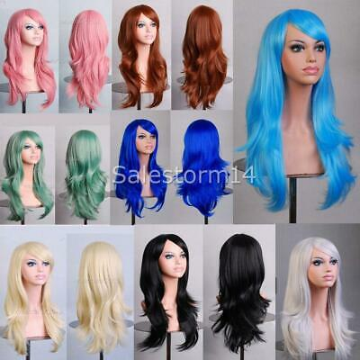 Womens 70cm Long Wavy Curly Hair Synthetic Cosplay Full Wig Wigs Party OZ