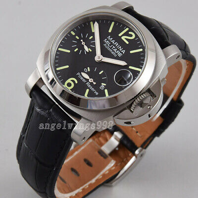 40mm seagull Power reserve black dial parnis polished bezel date automatic watch