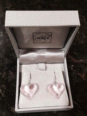 $260 Authentic LALIQUE France Pink Heart Coeur Crystal Silver Hook Earrings NIB