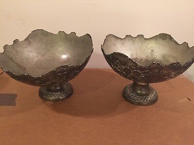 Antique Pair Of Large Center Piece Silver Plated Color