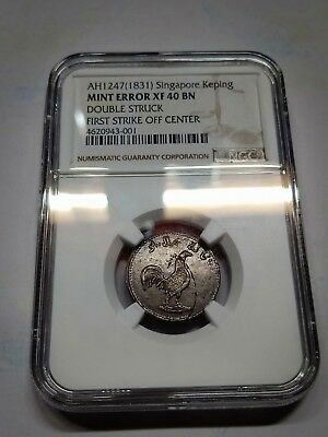 Singapore Sumatra Keping Mint Error Double Strike NGC XF40 AH1247 1831