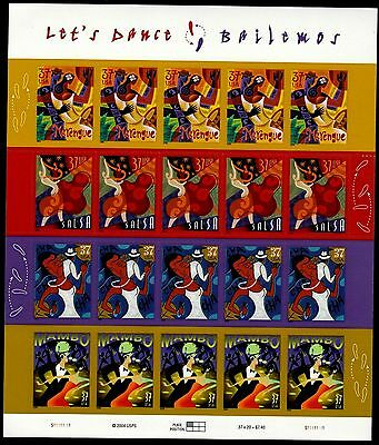 LETS DANCE US 2005 SCOTT 3939-3942 SET OF 4 LATINO DANCES 37c MVF 20 STAMP SHEET