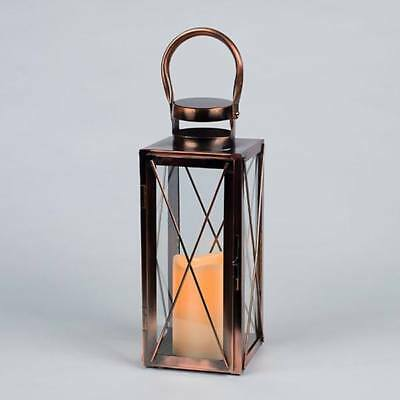 Gerson Everlasting Glow Copper and Glass Battery Operated LED Candle Lantern US