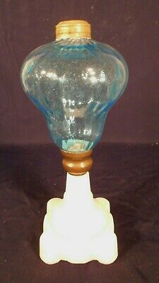 ANTIQUE 19th CENTURY HAND BLOWN BLUE GLASS OIL LAMP ON A MILK GLASS BASE