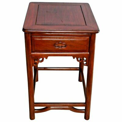 Vintage Carved Rosewood Box Side Table Nightstand dovetail drawer
