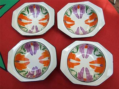 Antique 4 x Wilkinson Dishes England  Honey Glaze Painted 1930's Art Deco