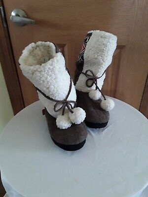 Womens 7-8 LUK EES by MUK LUKS LINED KNIT BOOT SLIPPERS NwoT