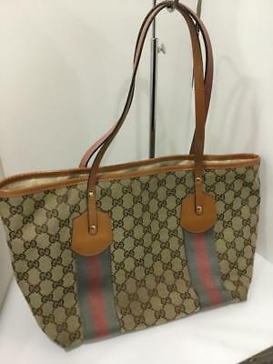 e47f154b7 GUCCI 211971 Charm Tote Hand Bag Brown Beige GG Canvas Leather Used