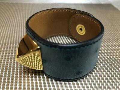 Hermes Medor Bracelet Gold Ostrich Leather Accessories Square Used