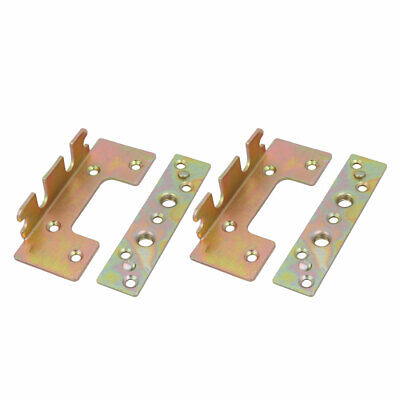 110mmx45mmx25mm Screw Fixed Bed Hinge Rail Brackets Connecting Fittings 2 Sets