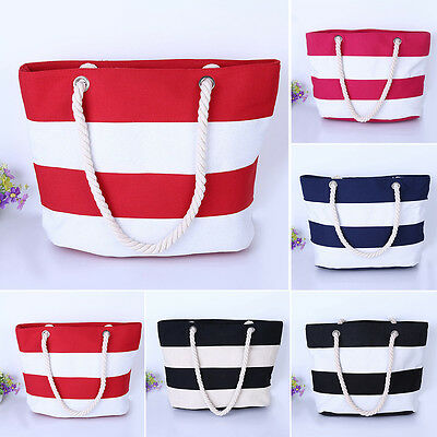 US Women Beach Canvas Bag Stripes Printing Handbags Large Shoulder Bag Totes New