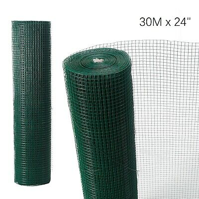 """30Mx24"""" Green PVC Coated Chicken Wire Mesh Fencing Garden Barrier Metal Fence"""