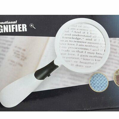 Handheld Reading Magnifier 3X Magnifying Glass Jewelry Loupe With 2 LED Light AU