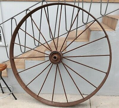 Large Metal Wagon Wheel 138 Cm High Vintage Antique Steel Iron Garden Art Ryde