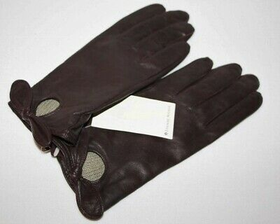 NWT ETIENNE AIGNER - Leather Oxblood Burgundy Gloves - Lined - LARGE