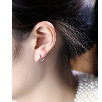 Female Cool  Sterling Silver Smooth Round Hoop Earrings Party Casual Jewelry ONE