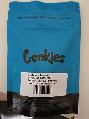 10x Cookies SF Mylar Bag STRAIN LABELS ANY STRAIN - LEAVE NOTE