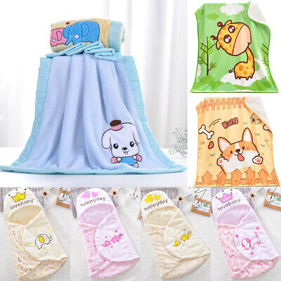 Baby Kids Rabbit Knitted Flannel Blanket Bedding Quilt Play Blanket Towel Wrap