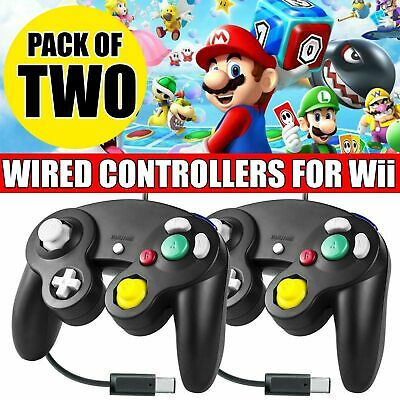 2 Pcs Wired Shock Video Game Controller Pad for Nintendo GameCube GC & Wii Black