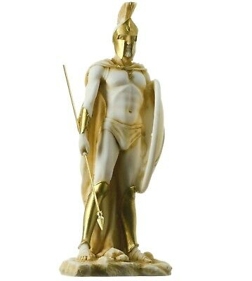 "LEONIDAS Statue Greek Spartan King Sculpture Figure Alabaster Gold Tone 9""/ 23cm"