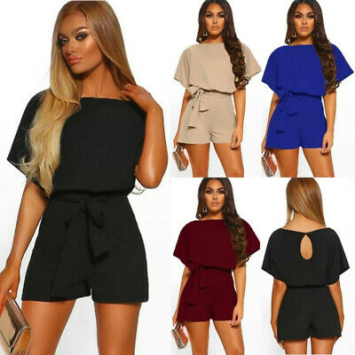 Womens Holiday Short Sleeve Belt Jumpsuit Ladies Summer Casual Jumpsuit ONE
