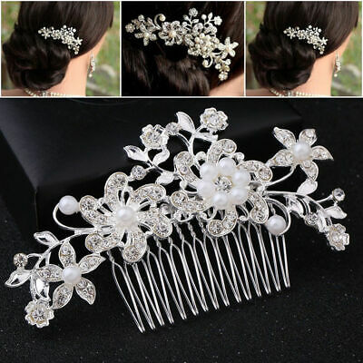 2X Bridal Hair Comb Pearl Crystal Headpiece Wedding Accessories Silver AU Stock