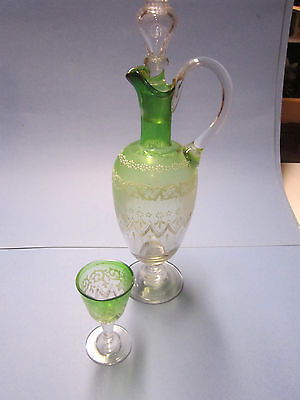 Vintage Czech or Bohemian Enameled Moser style glass Ewer Decanter Water Glass